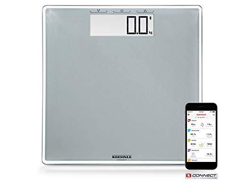 Soehnle Style Sense Connect 100 Digitale Personenwaage, mit Bluetooth und App-Anbindung, mit großer LCD-Anzeige, Personenwaage für max. 180 kg