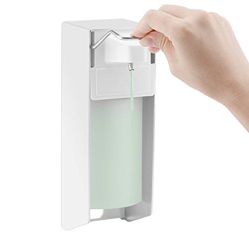 Montaje en pared dispensador de jabón, ALLOMN 500 ml Dispensador de desinfectante mano codo jabón loción bomba de aleación de aluminio con función de Spray para encimera de cocina baño Hospital Hotel