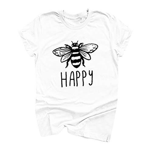 Pullover Sweatshirt für Damen,Kobay 2019 Halloween Heiligabend Weihnachten Frauen Baumwolle Rundhals Bienendruck T Shirts Kurzarm Plus Size Sommer Bluse Pullover -