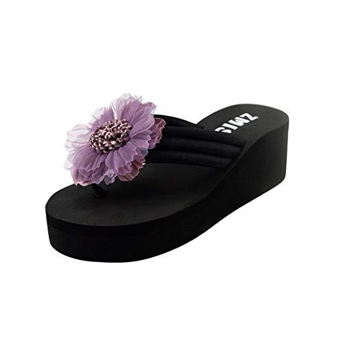 2cbf29132b951d B-commerce Damen Sommer Blumen Zehe Flip Flops Sandalen Mit Rom Stretch  Stoff Freizeit Faule