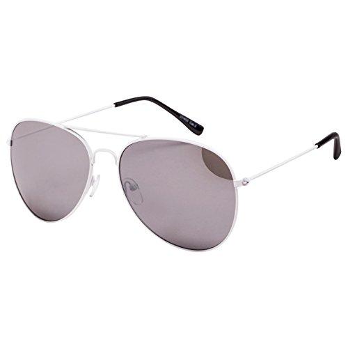 Ciffre EL-Sunprotect® Pilotenbrille Fliegerbrille Sonnenbrille Brille Top Design Weiß Silber Verspiegelt