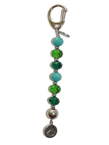 ARTemlos® Handmade Schlüsselanhänger/Taschenanhänger (AH04) aus Edelstahl und Perlen in Aqua
