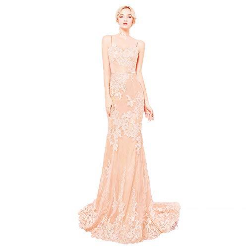 Special Bridal Schatz Neck Applique Mermaid Abendkleid Spaghettiträgern Partykleid -