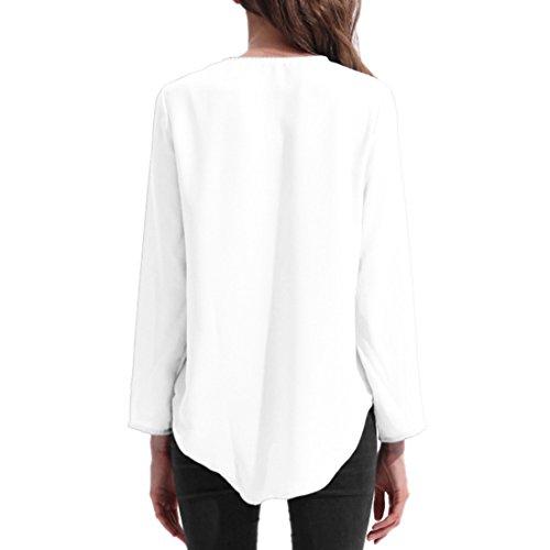 ASCHOEN Damen Elegant Bluse Hemd Oberteil Top T-shirt unregelmäßig Saum Weiß