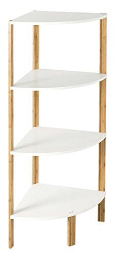 In legno di bambù a 4ripiani libreria mensola scaffale ad angolo in marrone/bianco per bagno, soggiorno e cucina–34x 34x 106