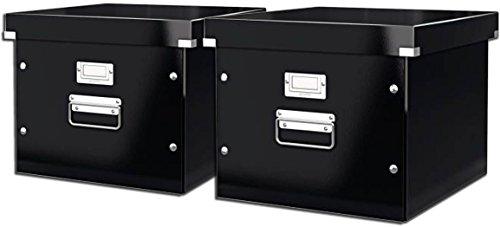 Leitz 60460095 Archiv-Hängebox Click und Store, Graukarton, schwarz (2 Boxen)