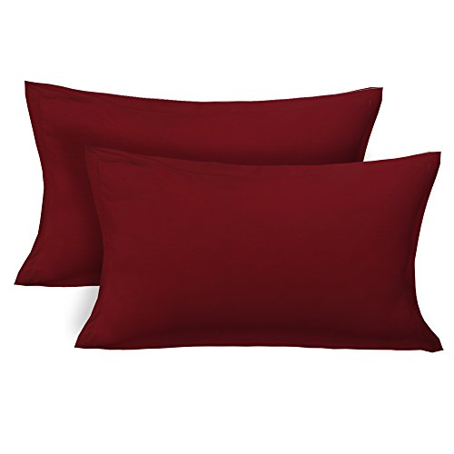 Clasiko 100% Cotton Plain Maroon Pillow Covers Pair; Size - 17x27 Inches; Color Fastness Guarantee