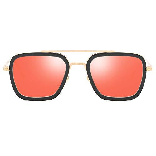 Tony Stark Same Paragraph Herren Sonnenbrille Polarized Light Metallrahmen Ultraleichte Mode Herren und Damen Unbreakable Rahmen Wandern, Outdoor, Fahren, Angeln, Golf,Orange
