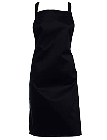 Professional 100% Cotton Pack of 5 Bib Aprons Full Length Catering Bar Kitchen Pinny (Navy)