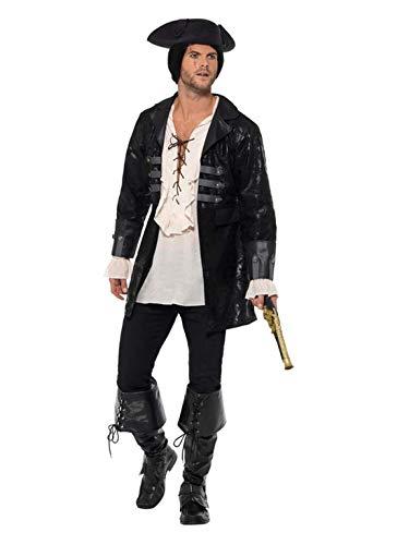 Luxuspiraten - Herren Männer Buccaneer Piraten Kostüm mit Jacket, perfekt für Karneval, Fasching und Fastnacht, L, Schwarz