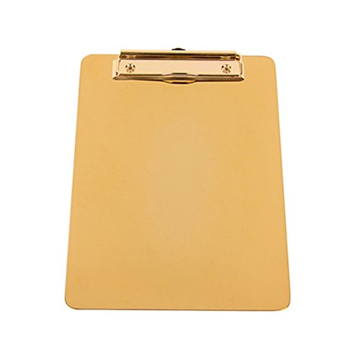 NUOLUX Klemmbrett Edelstahl Ordner Klemmbrettmappe Schreibmappe Klemmbrett Mappe Klemmbretter(Gold) (Zwischenablage Mit Gold)