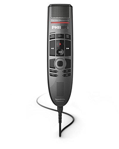 Philips SMP3700 SpeechMike Premium Touch, USB-Diktiermikrofon für kristallklare Aufnahmen und beste Spracherkennungsergebnisse, Bedienung per sensorischem Bedienfeld und Drucktasten, Anthrazit -