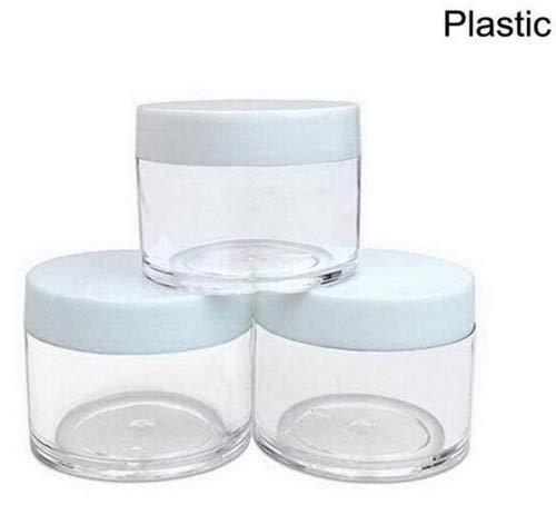 (30g 30ml / 1oz Nachfüllbar Kunststoff Runde klare Gläser mit Schraubverschluss Deckel Leere kosmetische Gläser viel Behälter für Make-up Lidschatten Nails Pulver Handmade Lip Scrubs und andere Beauty-Produkte (Weißer Deckel))