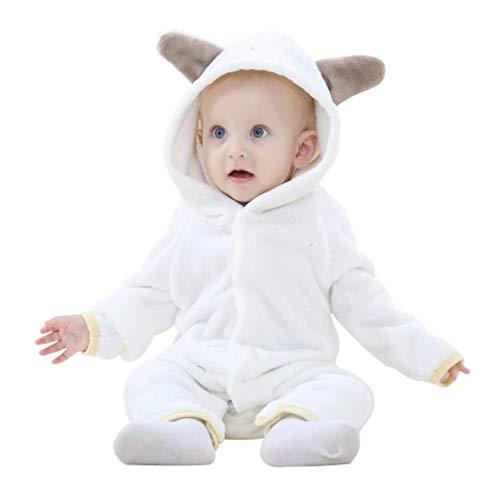 MICHLEY Baby Mädchen und Jungen Bär Stil Overall Herbst & Winter Strampler Kleidung - Herr White Kostüm