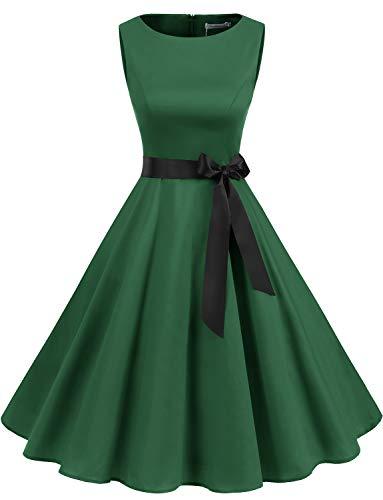 Gardenwed Damen 1950er Vintage Cocktailkleid Rockabilly Retro Schwingen Kleid Faltenrock Green L