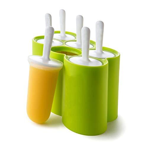 Anjing 6 Stück einfach zu entfernende Kunststoff-EIS-EIS Popsicle Pop Form Maker grün (Ice Cream Maker Ball Frei)