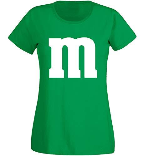 Damen M&m Kostüm Grün - Nation Damen T-Shirt Rundhals Karneval & Fasching JGA - Gruppen-Kostüm M Aufdruck - MM (M, Grün)