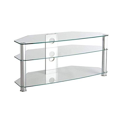 TV Tisch Fernsehtisch Glas (klar), 1150mm breit für bis zu 55 Zoll LCD LED 3D Plasma Bildschirme Fernseher mit Chrom Silber Standbeinen (Tv-bildschirm Gebogene Großen)