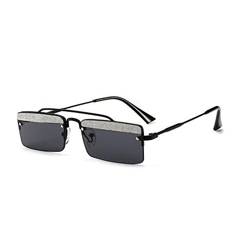 Yangjing-hl Kleine Box Retro-Box glänzend Stück Augenbraue Sonnenbrille Trend Street Shooting Modell Laufsteg Sonnenbrille schwarzer Rahmen grau Stück