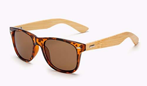 WSKPE Sonnenbrille Design Bambus Holz Sonnenbrille Marke Männer (Schwarz Braun Muster Rahmen Braun Objektiv) Beschichtung Quadrat Sonne Brille Frauen Schattierungen Brillen Uv400