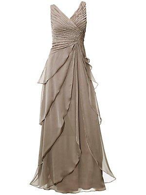 Kleid Abendkleid laagen-look ashley brooke taupe (44)