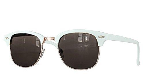 (Retro Sonnenbrille Clubmaster clubma Vintage Sonnenbrille (18 weiss - smoke))
