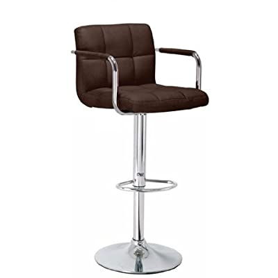 Bargains-galore® Brand New Breakfast Bar Stool Faux Leather Barstool Kitchen Stools Chrome Chair Brown
