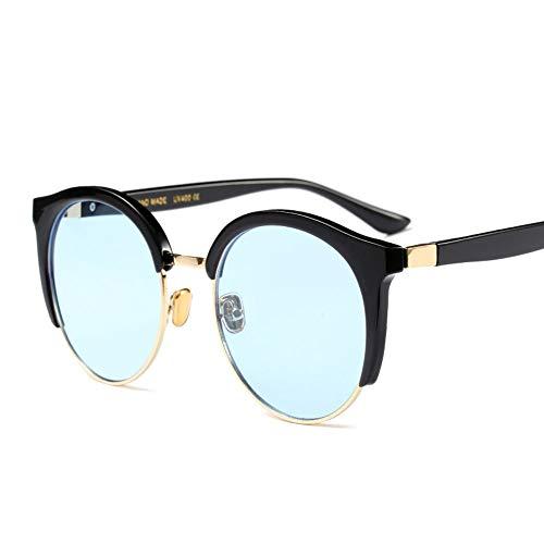WULE-RYP Polarisierte Sonnenbrille mit UV-Schutz Runde Sonnenbrille Nerd Student gefälschte Gläser, klare Linse Männer und Frauen Superleichtes Rahmen-Fischen, das Golf fährt (Farbe : Blau)