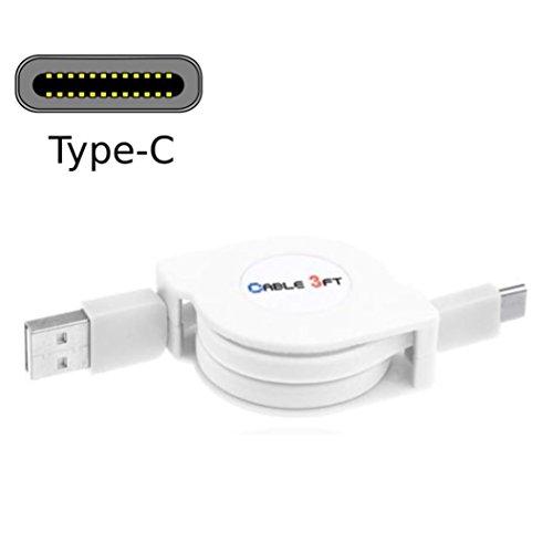 Preisvergleich Produktbild Bovake USB 3.1Type-C einziehbares Kabel Daten Sync Ladekabel Kabel für Samsung Galaxy Hinweis 7 (White)