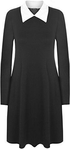 WearAll - Plain Kragen Kurz Stretch Langarm Ausgestelltes Ladies Swing-Kleid - Schwarz - 40-42 (Wednesday Addams Kleid)
