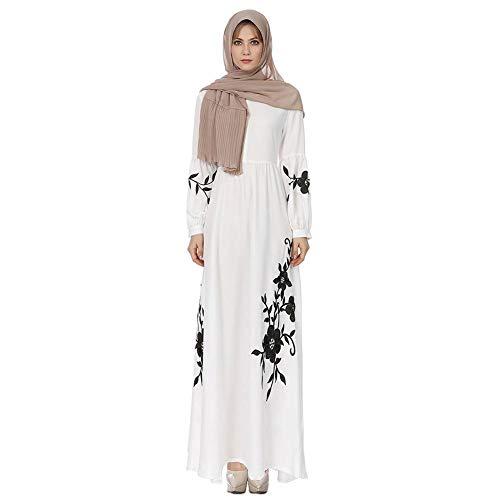50000e066 AFFEco Musulmana étnica Ramadán Bata Mujeres Impresión Gasa Vestido de Gran  tamaño Swing Mujer Bata Suelta