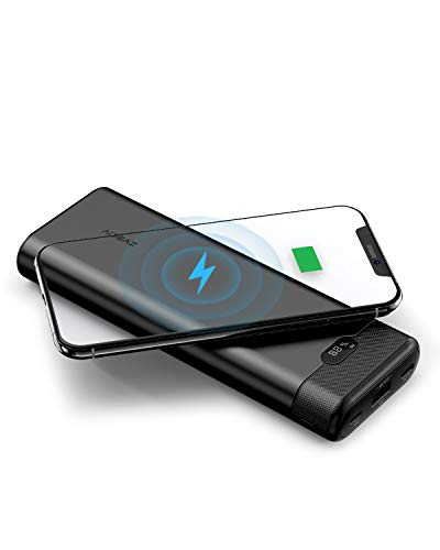 AIDEAZ POWERBANK 20000mAh tragbares Ladegerät, Wireless-Ladegerät externer Akku, Ultra-kompakte, Super High-Speed Laden Technologie Power Bank Compatiable für iPhone, Samsung und vieles mehr, schwarz