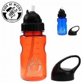 Trinkflasche mit Trinkhalm und extra Deckel