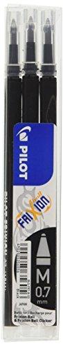 Pilot 006656 Frixion Ball Refill per Penna a Sfera, 0.7 mm, Confezione da 3, Nero