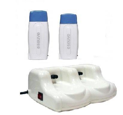 Crisnails® Calentador de Cera Tibia Roll-On para Depilación Profesional, Color Blanco con Tapa Azul