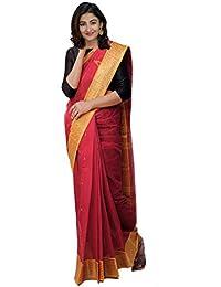 Unnati Silks Women's Bengal Handloom Cotton Tant Saree (UNM27577+Red+Free Size)