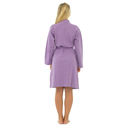 - 31bcaIUKbSL - Ladies 100% Cotton Waffle Bath Robe Dressing Gown Summer Bathrobe Wrap Housecoat