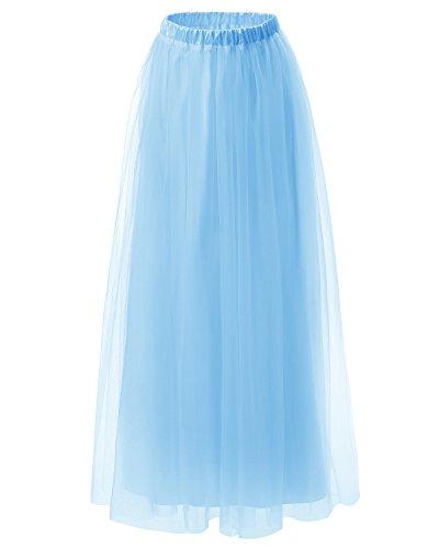 Dresstells Damenrock Maxirock Retro Unterrock lang Festlich Rockabilly Tüllrock Hochzeit Cocktail Prinzessin Tanz-Kleid Blue - Satin Frauen Blue Für Kleider