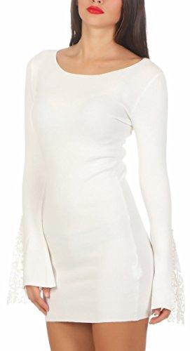 5200 Fashion4Young Damen Feinstrick Pullover Strickkleid Longpullover Minikleid Trompetenärmel Weiß