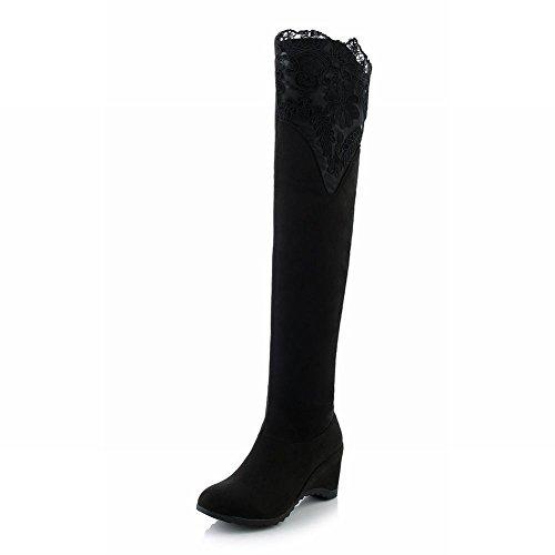 Mee Shoes Damen warm gefüttert langschaft Lace high heels Stiefel Schwarz