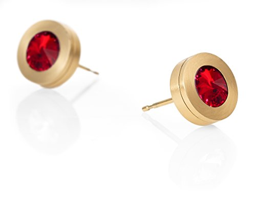 Heideman Ohrringe Damen Colori aus Edelstahl gold farbend matt Ohrstecker für Frauen mit Swarovski Stein Kristall siam rot im Fantasie Edelsteinschliff 6mm