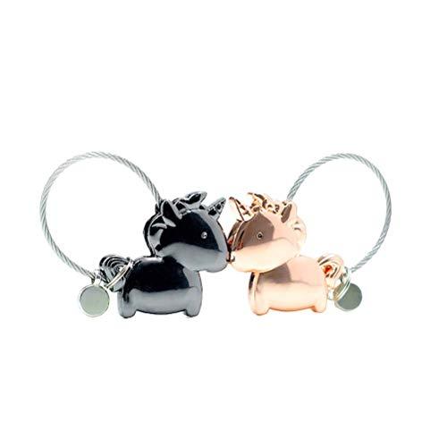 BESTOYARD Schlüsselanhänger Kiss Unicorn Couples Cute Keychain für Liebe (Schwarz und Rotgold)