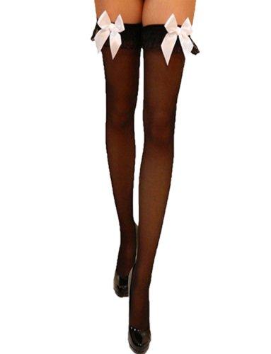 Yummy Bee - French-Maid Schwarze Halterlose Blickdichte Strümpfe Weiße Schleifen Kostüm Damen