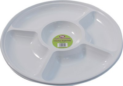 5 x WHITE PLASTIC DISPOSABLE COMPARTMENT/PLATTER - 35cm Great for nibbles snacks dips FREE DELIVERY by Party & Paper Solutions