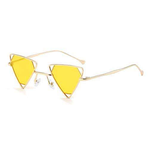 ZHAO YELONG Sonnenbrille Mode Dreieck Metallrahmen Herren Damenbrille (Color : Yellow)