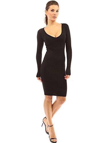 PattyBoutik Damen V-Ausschnitt Stretch Strickkleid mit langen Ärmeln (schwarz 46/XL)