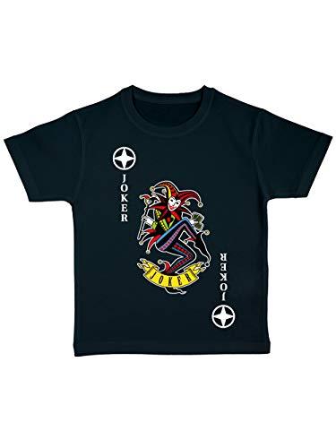 irt Bio Karneval & Fasching Spielkarte Joker Kostüm Schwarz/Bunt Größe 128 ()