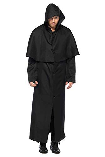 Halloween Kostüme mit Kapuze Geist Teufel Halloween Bekleidung Unisex für Erwachsene Horror Terror Grim Reaper Zombie Robe Cape Mantle Cloak