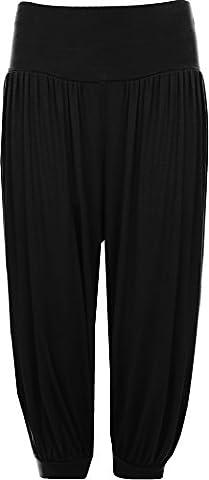 Womens Plus Size Cropped Harem Trousers Ladies 3/4 Plain Baggy Pants Black 20/22