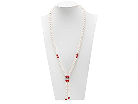 JYX Natural White Rice Freshwater Pearl with Natural Red Agate